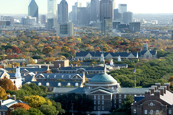 The Dallas skyline and SMU Campus with Dallas Hall in the foreground